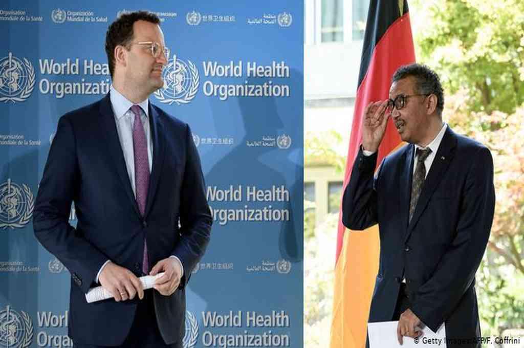 El ministro de Salud de Alemania, Jens Spahn (izquierda) y el director de la OMS, Tedros Adhanom Ghebreyesus, en Ginebra, Suiza. Crédito: Agencias