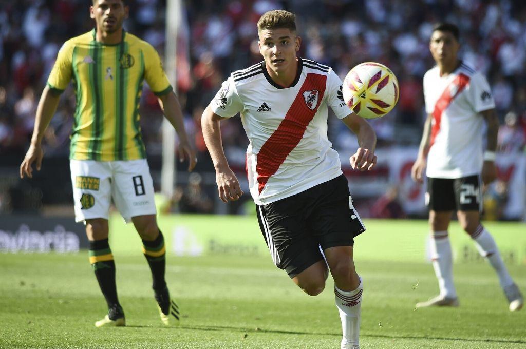 Gran proyección. Con apenas 20 años, Julián Álvarez ya suma experiencia en la primera de River y se proyecta como el goleador para el futuro. Crédito: Archivo