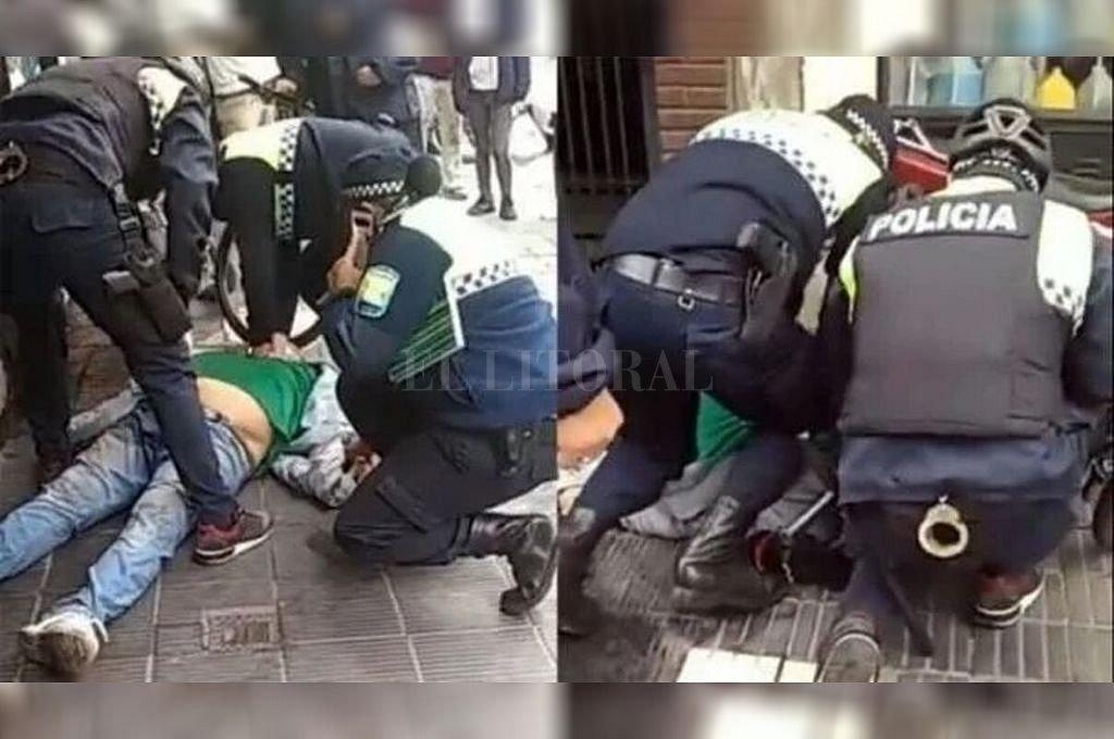 Momento en el que Walter Ceferino Nadal es atendido por los policías. Crédito: Captura digital