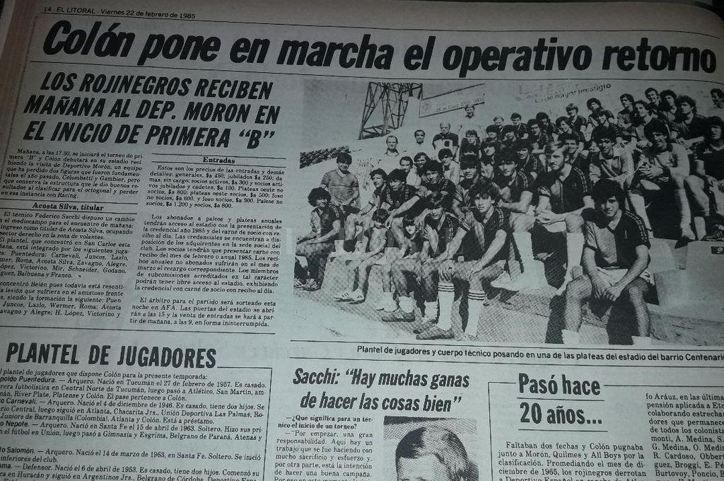 Así lo anunció El Litoral, el día previo al inicio del torneo y el debut ante Deportivo Morón en 1985. Crédito: El Litoral