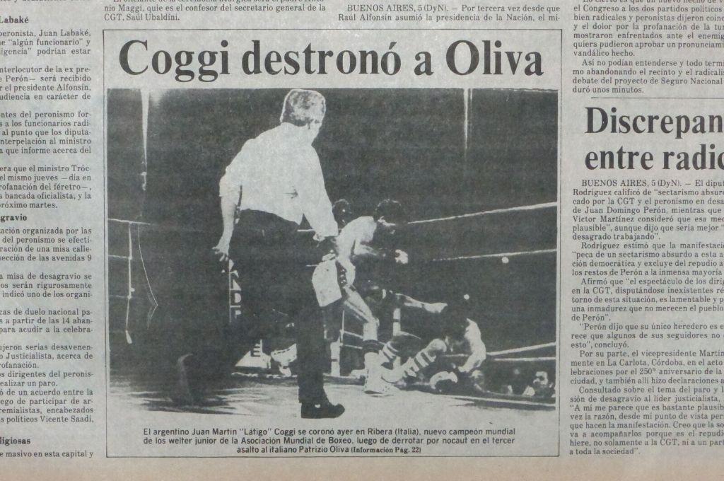 La cobertura de El Litoral de aquélla gesta de Coggi en 1987. Crédito: Archivo