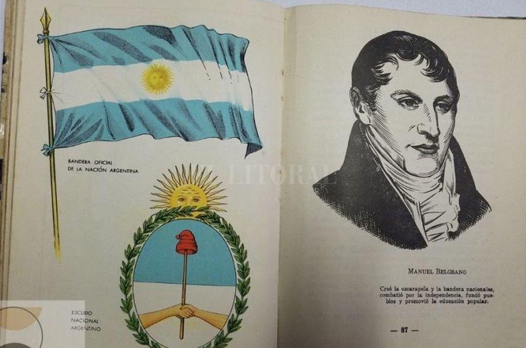 Belgrano y la bandera en los libros de lectura escolares. Crédito: Gentileza
