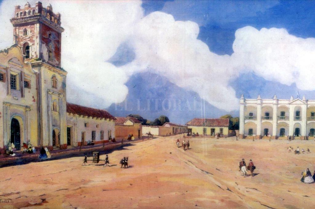 Recreación pictórica de la Plaza de Santa Fe por Leónie Matthis Crédito: Archivo El Litoral