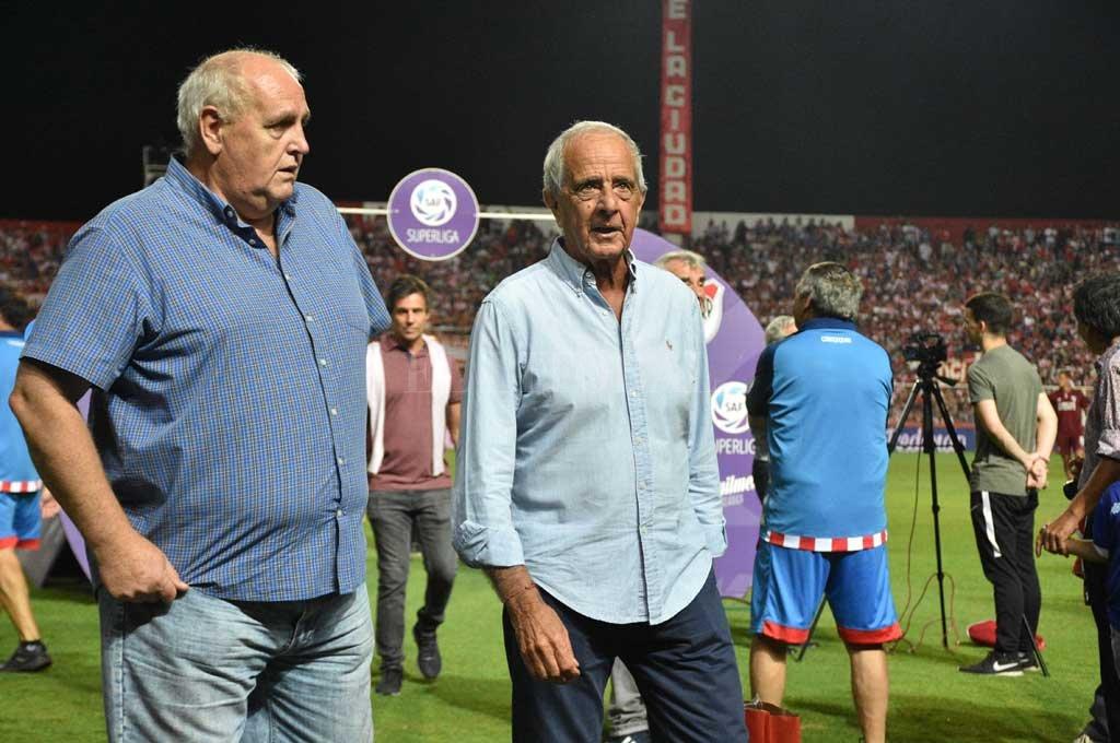 Luis Spahn junto a Rodolfo Donofrio en la visita que hizo River en los primeros meses de este año. Crédito: Manuel Alberto Fabatía
