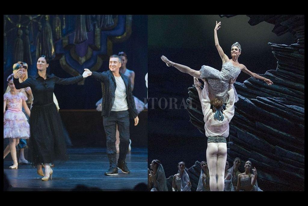 La directora del Ballet Estable, Paloma Herrera, junto a Bocca; la función que se emitirá está protagonizada por Nadia Muzyca y Federico Fernández. Crédito: Télam