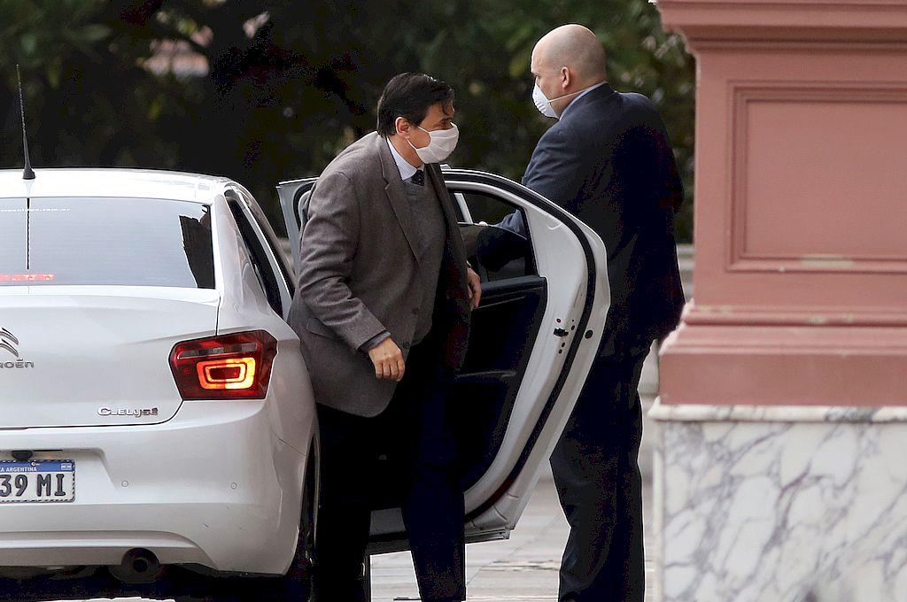 Claudio Moroni en la Rosada. El ministro reconoció la relevancia del acuerdo UIA-CGT. Crédito: Télam
