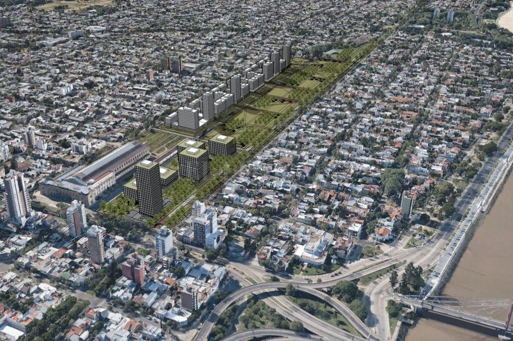 La imagen grafica el futuro previsto en el Plan Maestro para el área de la Estación Belgrano, con amplias áreas públicas para el esparcimiento y sectores para viviendas residenciales y áreas comerciales. Crédito: Gentileza