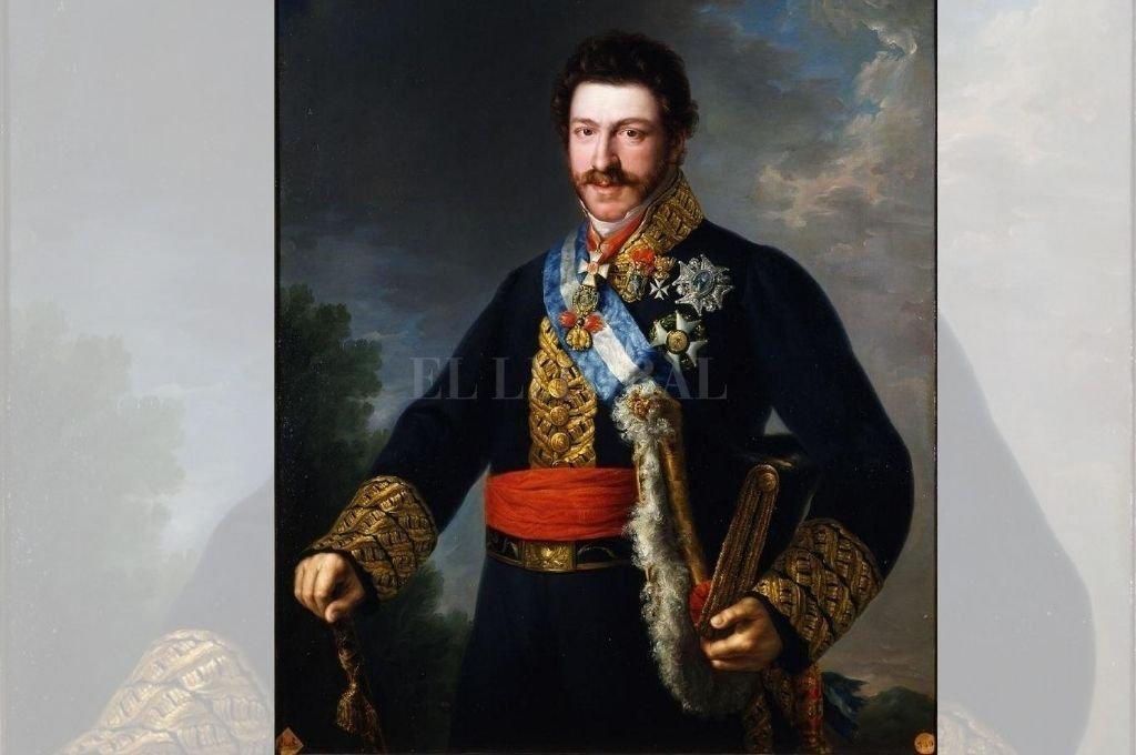 Retrato del príncipe Francisco de Paula y Borbón (1774 - 1865). Oleo de Bernardo López Piquer. Era el décimo cuarto hijo del rey Carlos IV y hermano del rey Fernando VII. Fue uno de los más serios candidatos a ser coronado en el Río de la Plata. Nótese la banda azul y blanca de la Orden de Carlos III, que no hubiera desentonado en la Argentina. Crédito: Gentileza