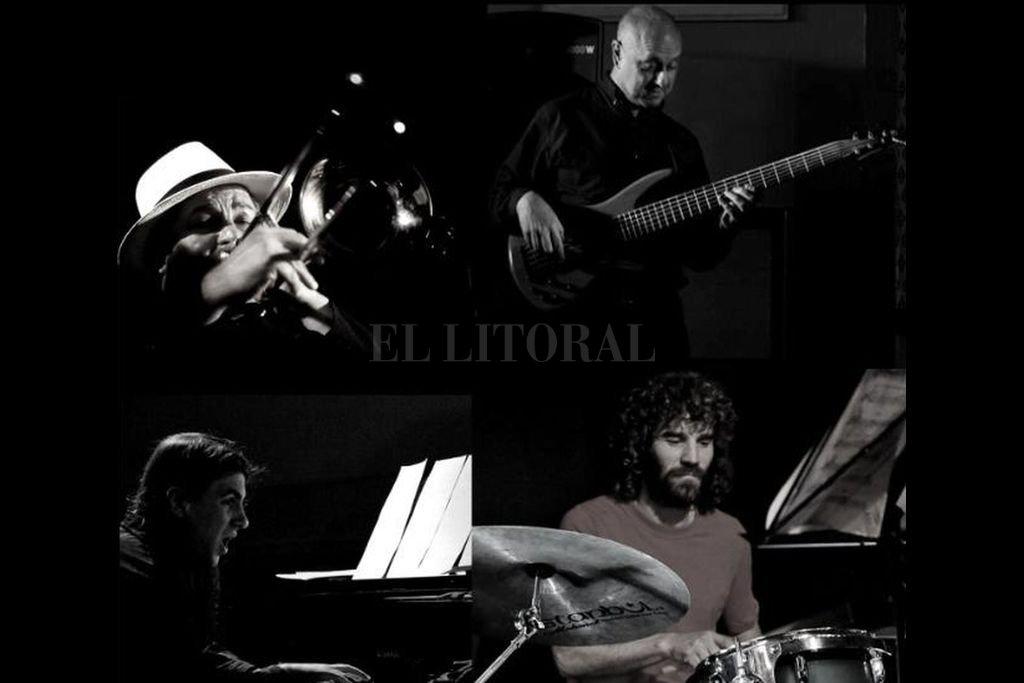El grupo está integrado por Rubén Carughi (trombón), Mariano Ferrando (bajo), Francisco Lo Vuolo (piano) y José Piccioni (batería). Crédito: Gentileza producción