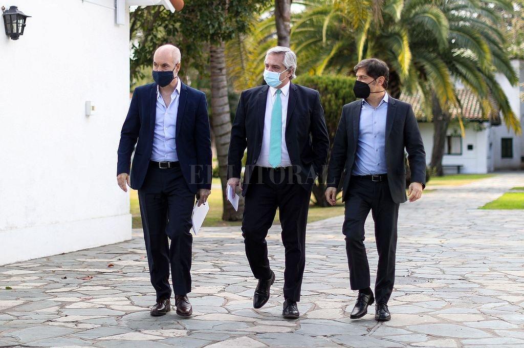 Rodríguez Larreta, Alberto Fernández y Kicillof. Crédito: NA