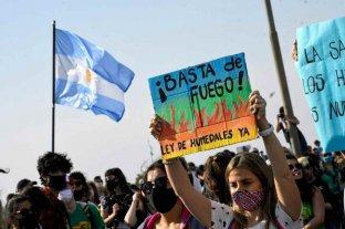 Quemas: la Defensoría del Pueblo pide la urgente sanción de una Ley   - Protesta. Se llevó a cabo en Rosario, tras las intensas quemas en las islas frente a la ciudad del sur provincial.     -