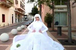 Viral: la explosión de Beirut sorprendió a una novia en plena sesión de fotos para su boda