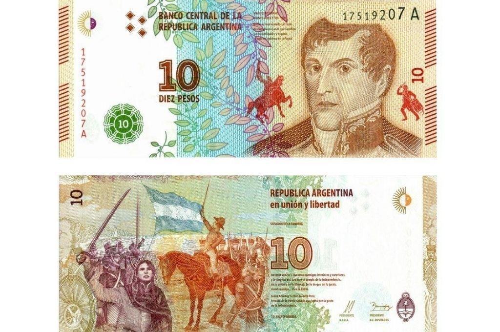 Anverso y reverso del billete de diez pesos que circula en la Argentina desde 2016. La autora explica en su artículo el simbolismo de sus imágenes. Crédito: El Litoral