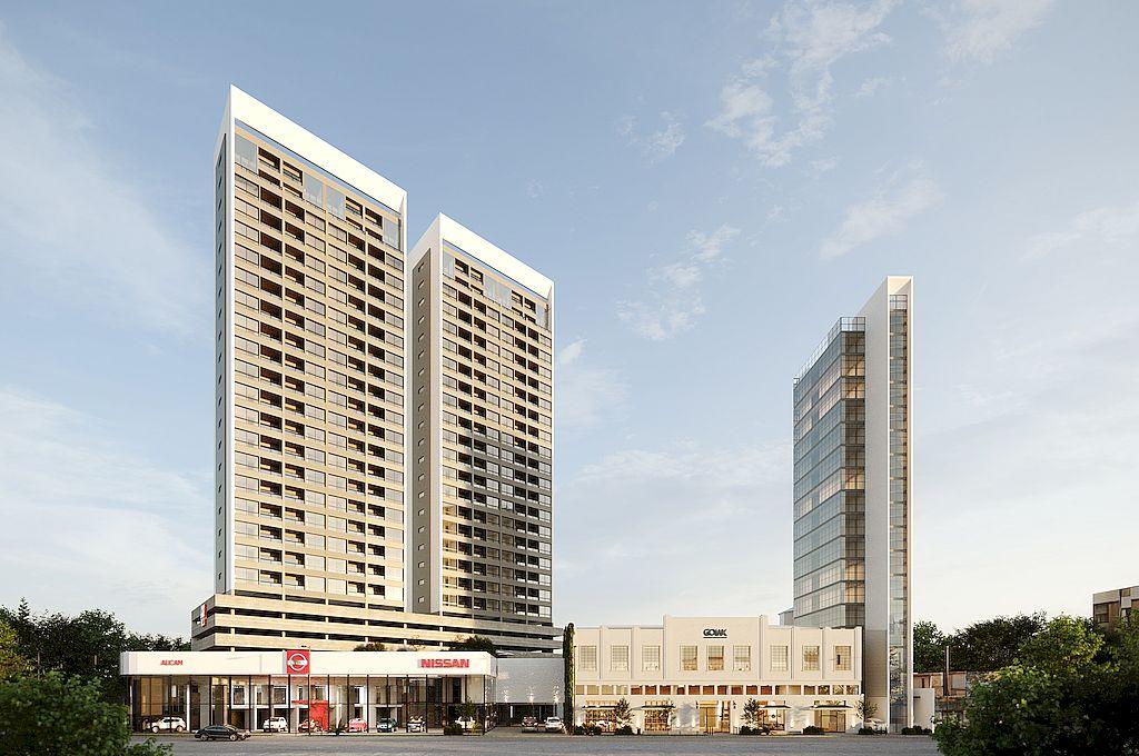 Serán tres torres. Dos de departamentos, y un edificio de oficinas de 14 pisos, con una innovación tecnológica enorme, todo vidriado.