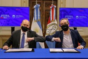 Tejiendo el acuerdo - Saludo de tiempos de pandemia entre Perotti y Javkin sobre el acuerdo. -