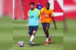 Tras el fuerte golpe frente al Nápoli, Messi se entrenó vendado