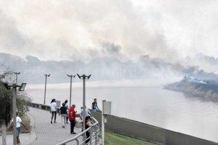 """""""La aparición de serpientes en el casco urbano tiene que ver con los incendios"""", advierte una especialista - El incendio en la zona de bañados del Río Salado, frente a Santo Tomé -"""