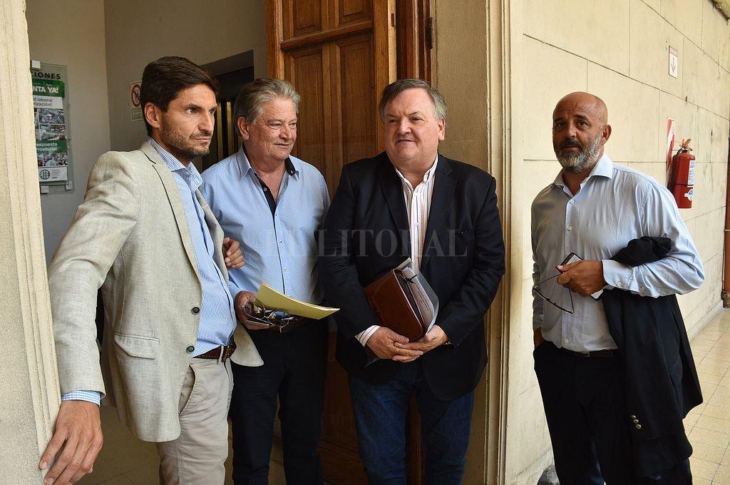 Maximiliano Pullaro, Carlos Fascendini, Felipe Michlig y Fabián Palo Oliver. Crédito: Mauricio Garín