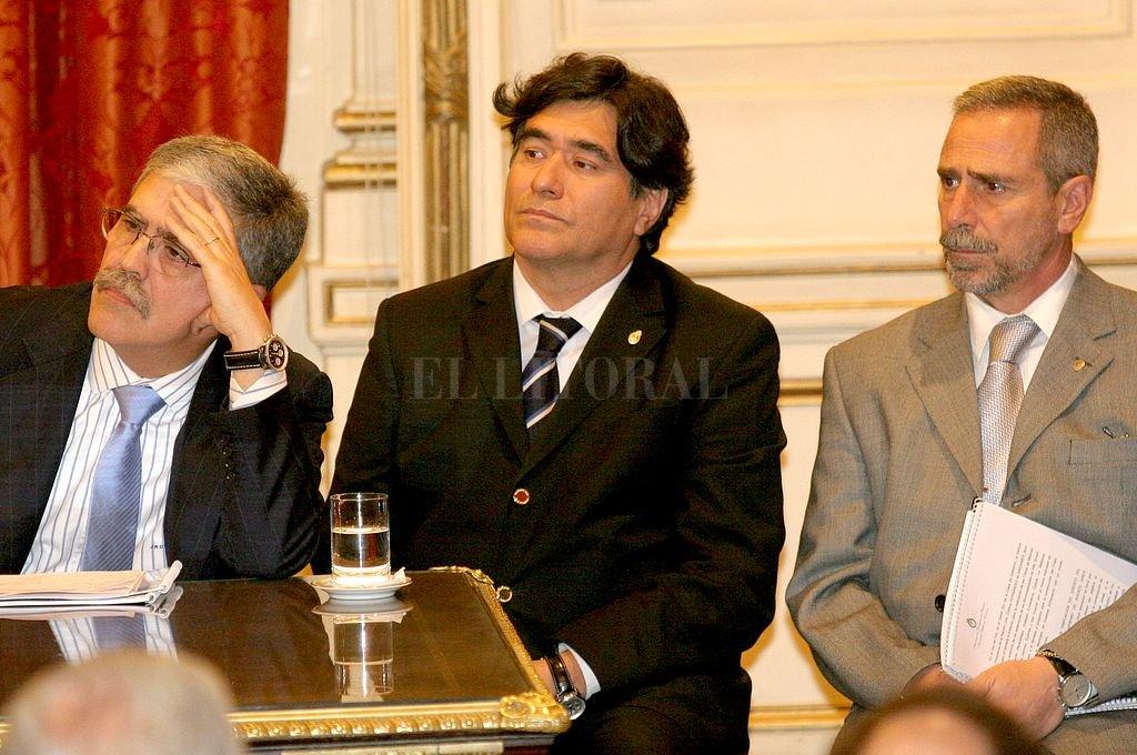 De Vido, Zanini y Jaime. Crédito: Archivo El Litoral