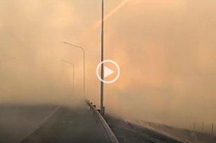 Precaución: baja visibilidad en la zona del túnel subfluvial por el humo de quema de pastizales