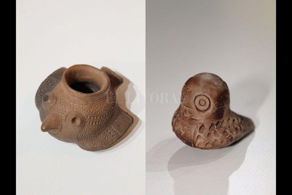 Dos de las cuatro piezas cerámicas aportadas por la profesora Estela Torti. Crédito: Gentileza Municipalidad de Santa Fe