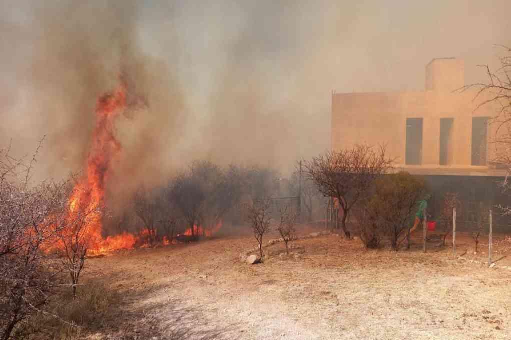 Incendio. En la zona de Mina Clavero. Crédito: Ministerio de Seguridad de Córdoba