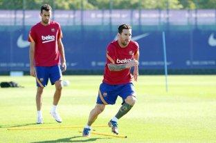 Messi se entrenó en el día libre del plantel del Barcelona