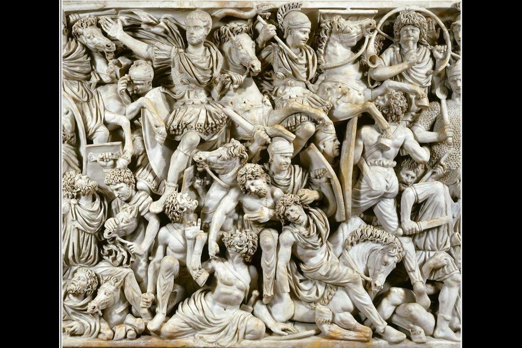 Sarcófago del siglo III en el que se representa una batalla entre romanos y bárbaros. Crédito: El Litoral