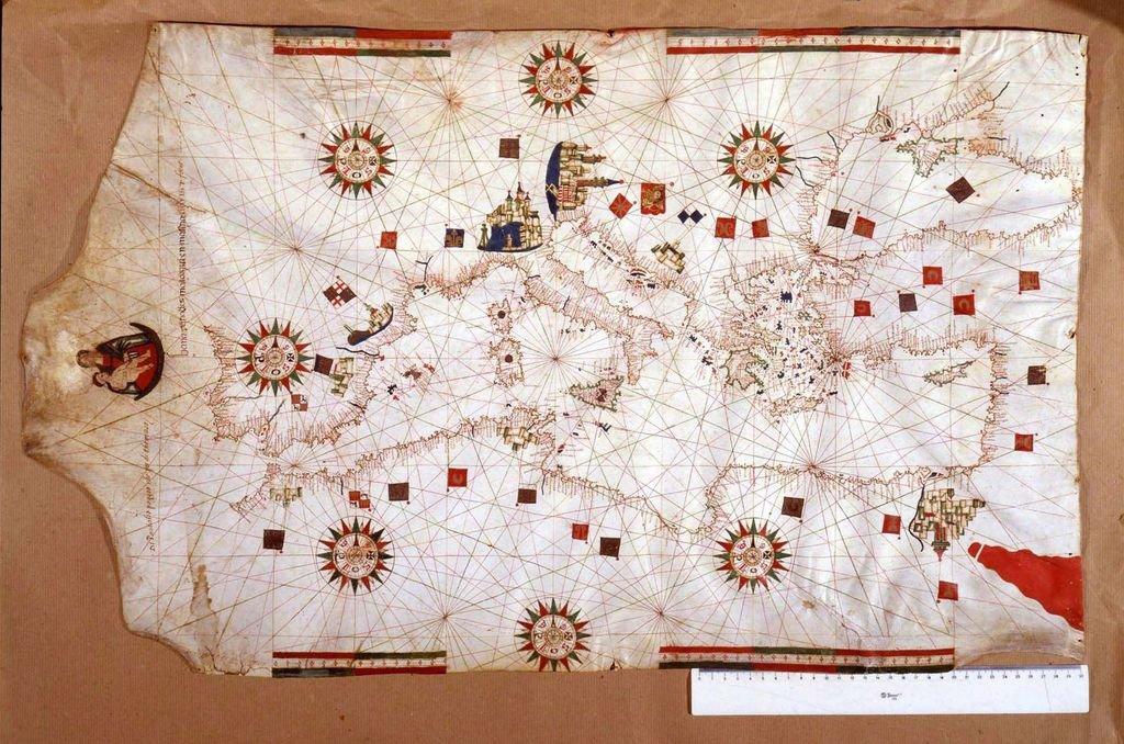 El mar Mediterráneo en un mapa del siglo XVI. Vestido con sus mejores pilchas y con una idea brillante por lo pragmática, Colón pudo hacerse a la mar. Crédito: Archivo El Litoral