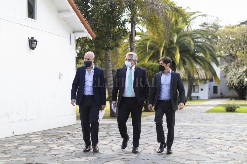 Horacio Rodríguez Larreta, Alberto Fernández y Áxel Kicillof. Crédito: Archivo El Litoral
