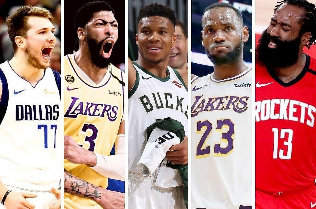 Luka Doncic (Dallas Mavericks), LeBron James (Los Angeles Lakers), Giannis Antetokounmpo (Milwaukee Bucks), Anthony Davis (Los Angeles Lakers) y James Harden (Houston Rockets) Crédito: El Litoral