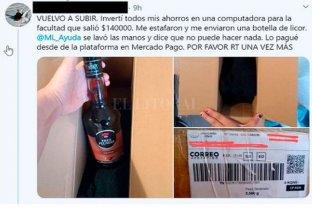 Compró online una laptop de $ 140.000 y le llegó una botella de licor