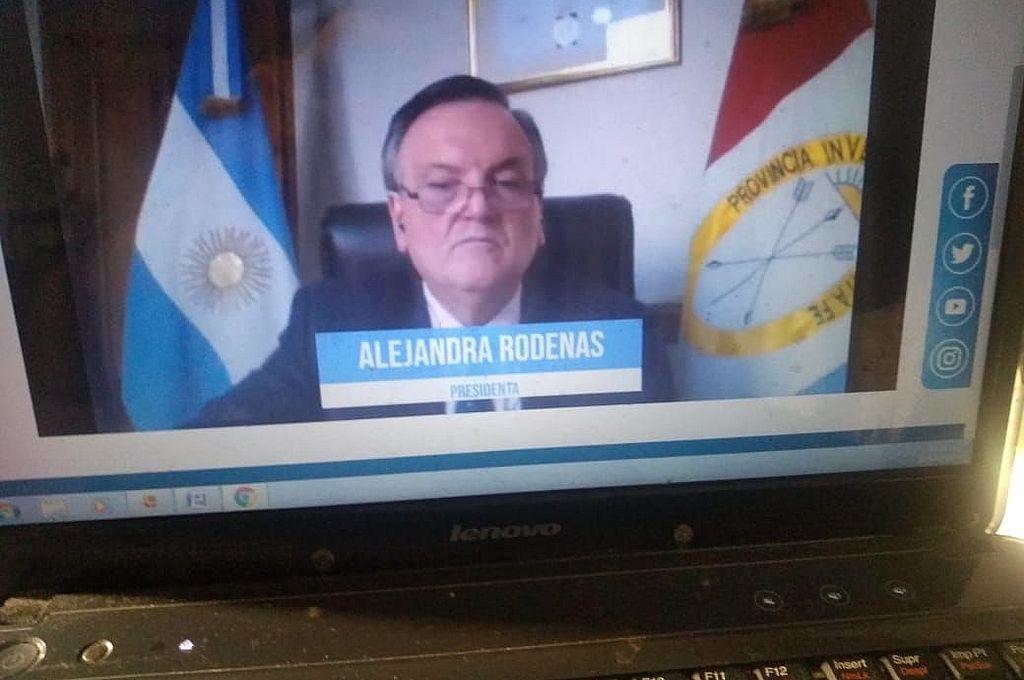 El jefe de interbloque de la UCR, Felipe Michlig (UCR-San Cristóbal). Por apenas unos segundos no fue correctamente identificado por el sistema de telesesión del Senado santafesino. Crédito: Captura de pantalla de Senado