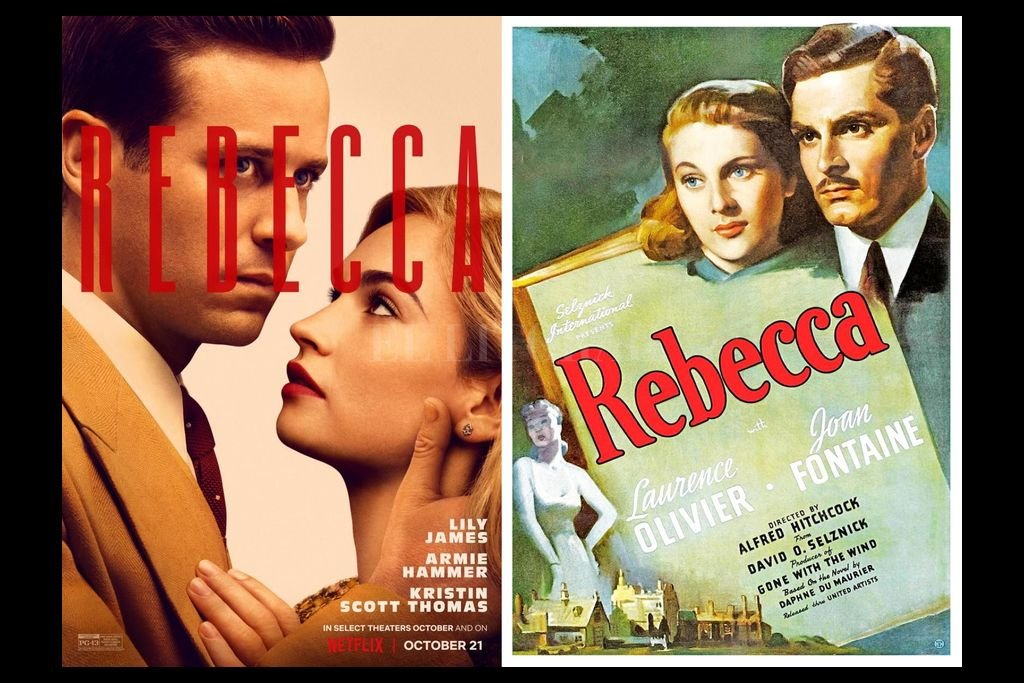 Armie Hammer y Lily Collins son los protagonistas de la nueva versión de la película, que se estrenará el 21 de octubre. Laurence Olivier y Joan Fontaine hacían lo propio en la estrenada hace 80 años. Crédito: Netflix / Selznick International Pictures