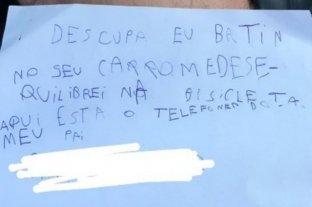 El mensaje que dejó un niño de siete años luego de rayar un auto con su bicicleta