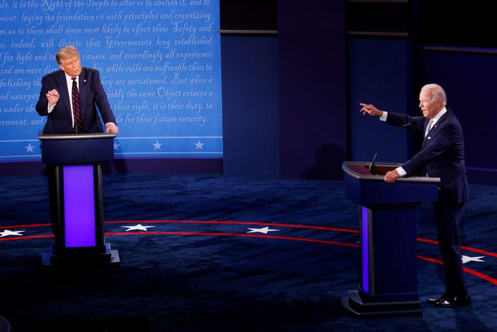Joe Biden y Trump en el debate presidencial. Crédito: Archivo