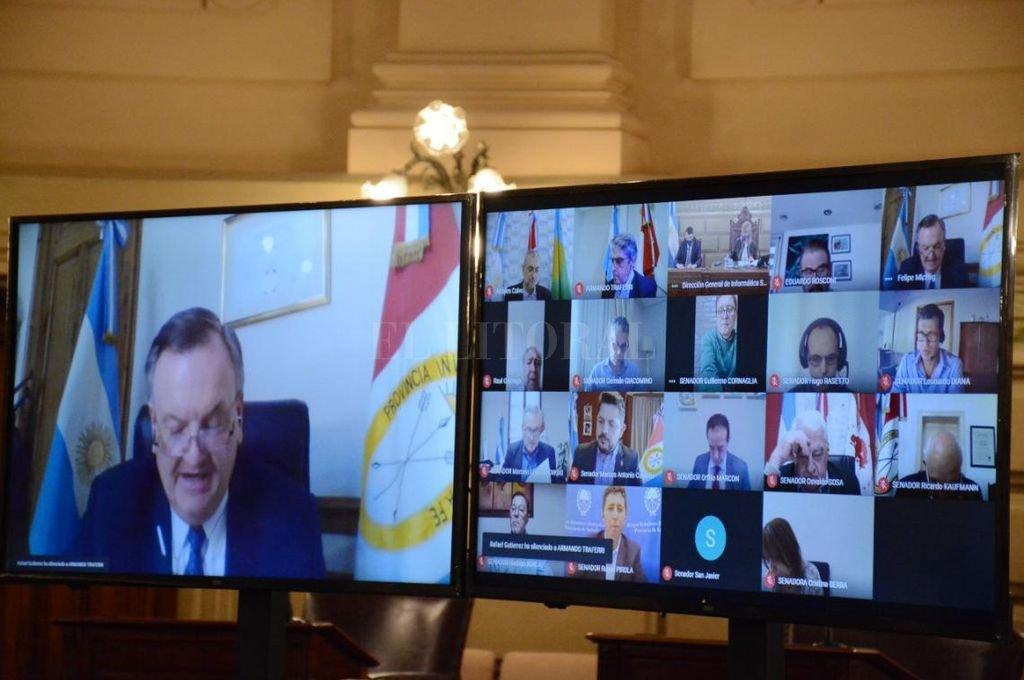 Telesesión del Senado provincial el pasado 8 de octubre.  Crédito: Cámara de Senadores de la Provincia de Santa Fe