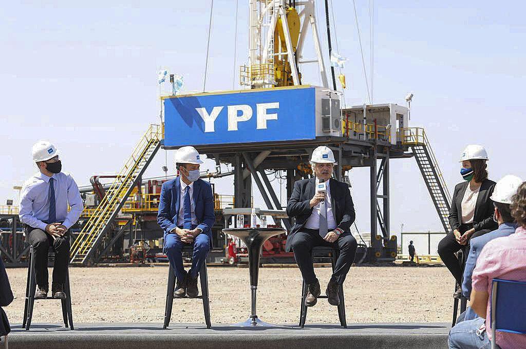 El presidente Alberto Fernández habló en un acto desde el centro de la producción de gas y petróleo no convencional en la formación Vaca Muerta, en Neuquén. Crédito: Presidencia de la Nación