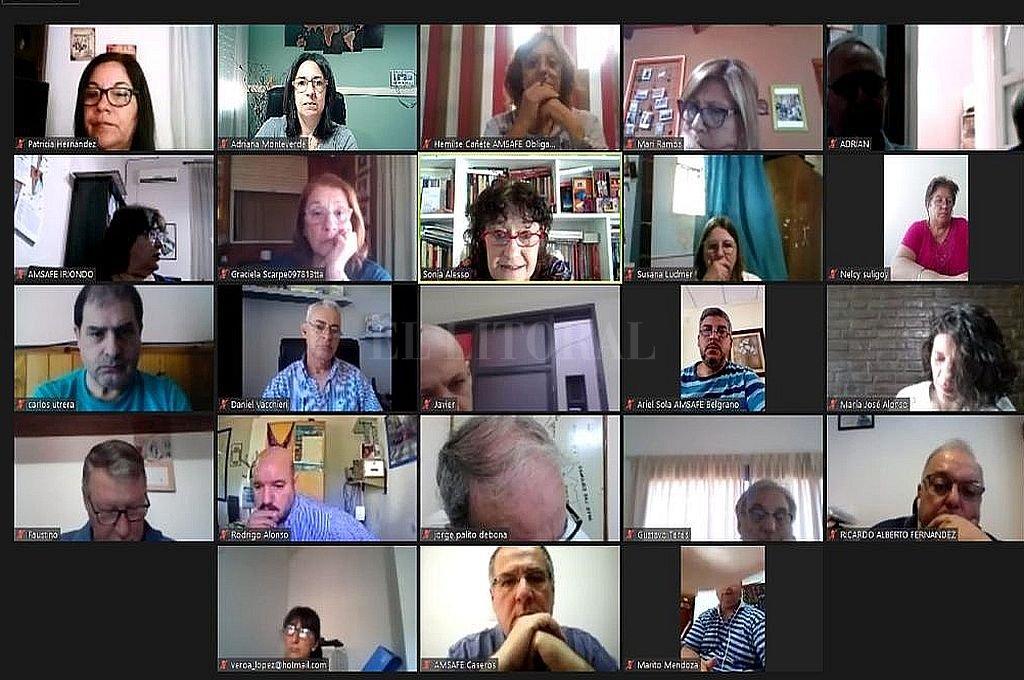 De manera virtual, delegados seccionales del gremio docente se reunieron en Plenario y manifestaron total desacuerdo con la decisión del gobierno provincial. Crédito: Gentileza