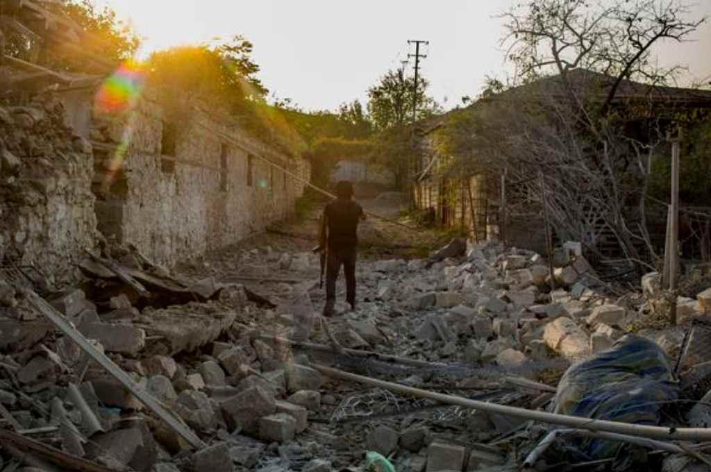Los destrozos que dejó el enfrentamiento contra Azerbaiyán.  Crédito: Gentileza