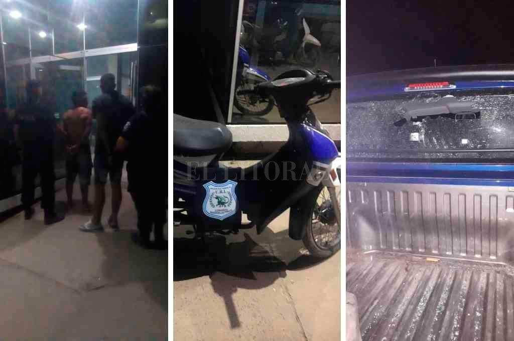 De izquierda a derecha: los detenidos, la moto robada y el móvil policial dañado Crédito: El Litoral