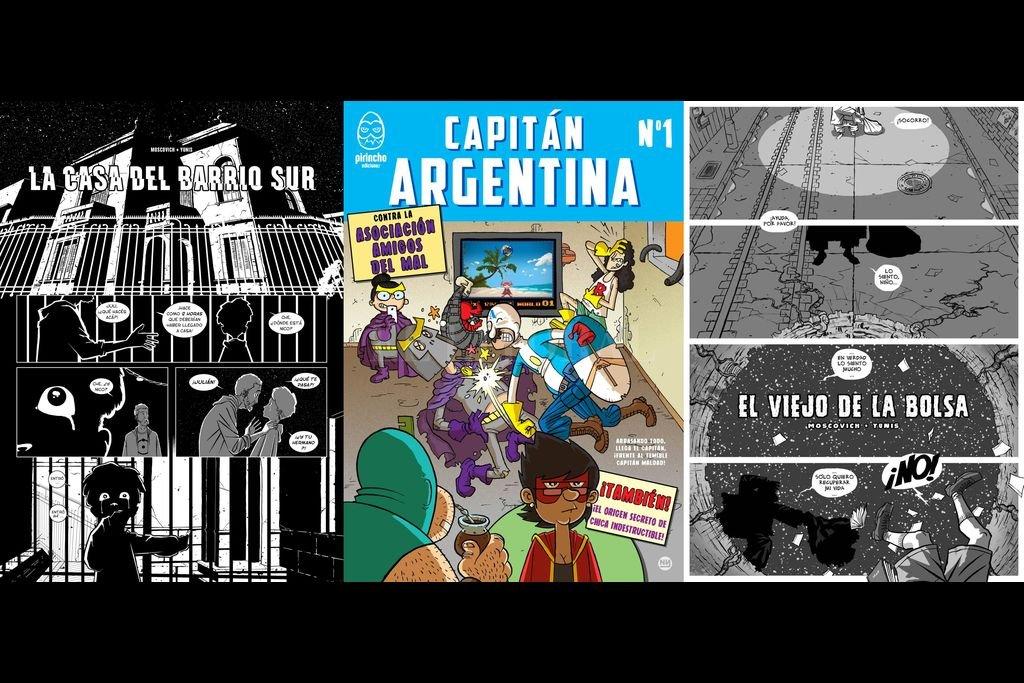 """""""El viejo de la bolsa"""" y """"La casa del Barrio Sur"""" son dos historietas ilustradas por Yunis. También se observa la portada de uno de los títulos publicados por Pirincho, proyecto colectivo del cual participa. Crédito: Gentileza del artista"""