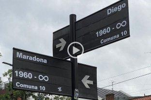 Hinchas renombraron la esquina Segurola y Habana en homenaje a Maradona