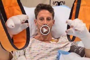 """""""Hola a todos. Solo quiero decir que estoy bien"""", dijo Grosjean desde el hospital tras el brutal accidente -"""