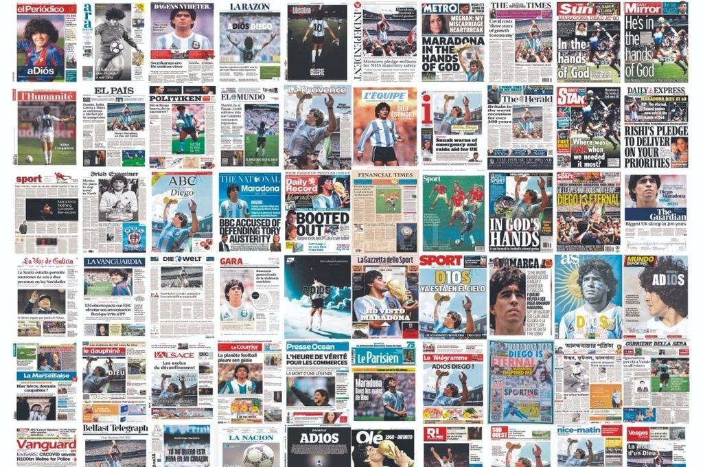 Las portadas del mundo reflejaron la muerte de Diego Maradona Crédito: Archivo El Litoral