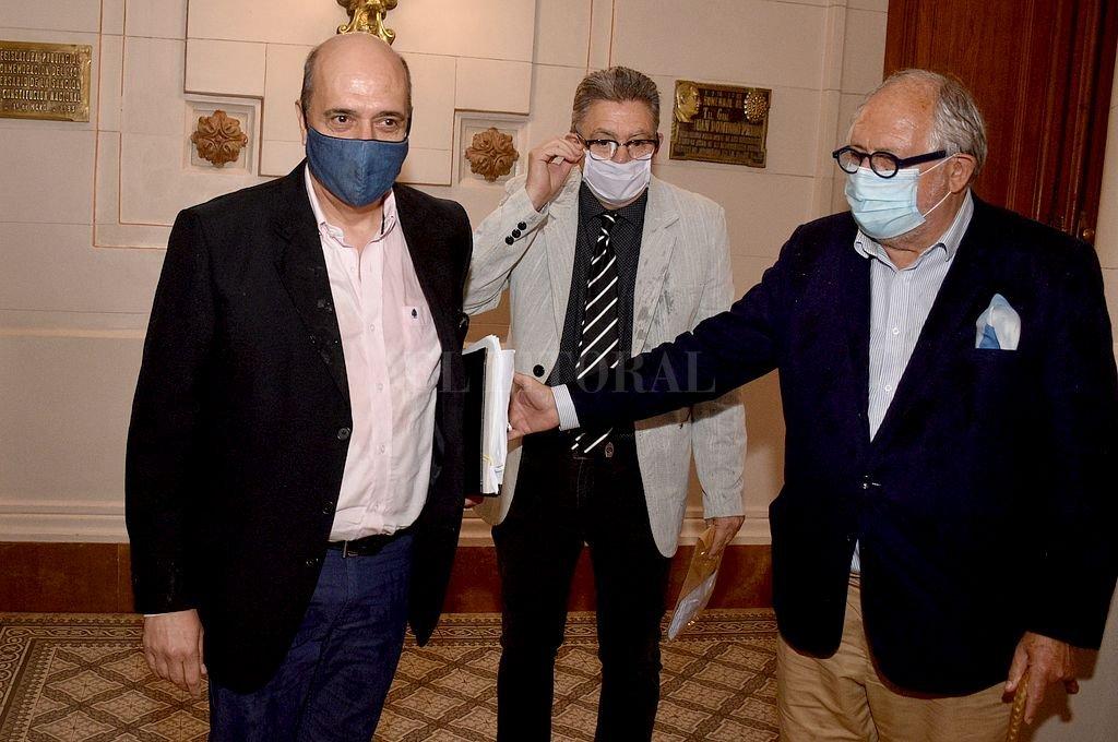 Scarel y Guelar ingresan al recinto de Diputados para la reunión con la comisión. Detrás Bougain. Crédito: Guillermo Di Salvatore