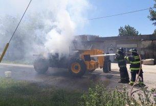 Tomó fuego una maquinaria en San Lorenzo