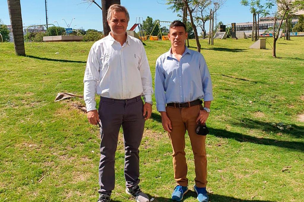 Jorge Rivadeneira y Alberto Pelossi (h), candidatos a presidente y vicepresidente, respectivamente, en la señera institución santafesina. Crédito: Gentileza CUSF