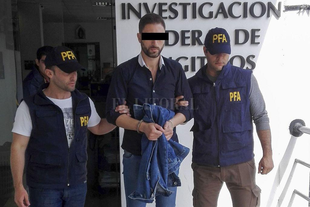 Leandro Santos cuando fue detenido en octubre de 2017. Crédito: Archivo El Litoral