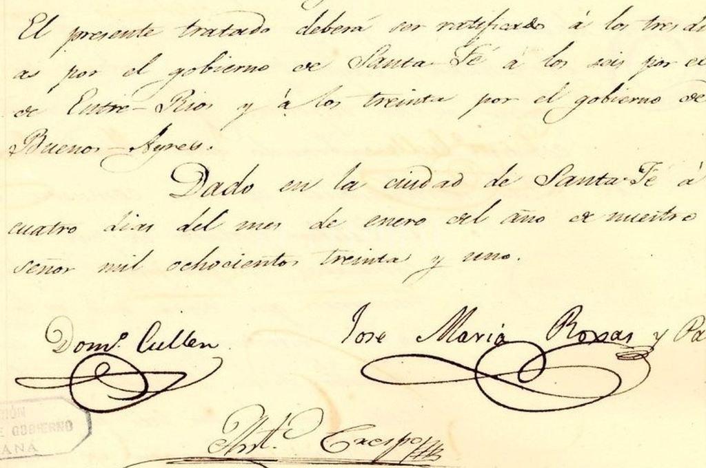 Párrafos finales del Pacto Federal. Se destacan las firmas de los delegados Cullen, Crespo y Roxas y Patrón, diputados por Santa Fe, Entre Ríos y Buenos Aires. Crédito: Gentileza